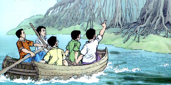 榕树正在茂盛的时期,好像把它的全部生命力展示给我们看。那么多的树叶,一簇堆在另一簇上面,不留一点儿缝隙。那翠绿的颜色,明亮地照耀着我们的眼睛,似乎每一片绿叶上都有一个新的生命在颤动。这美丽的南国的树! 船在树下泊了片刻。岸上很湿,我们没有上去。朋友说这里是鸟的天堂,有许多鸟在这树上做巢,农民不许人去捉它们。我仿佛听见几只鸟扑翅的声音,等我注意去看,却不见一只鸟的影儿。只有无数的树根立在地上,像许多根木桩。土地是湿的,大概涨潮的时候河水会冲上岸去。鸟的天堂里没有一只鸟,我不禁这样想。于是船开了,一个