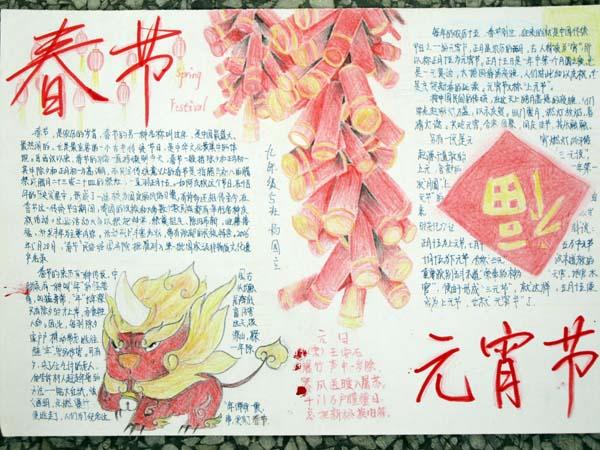春节元宵节手抄报图片